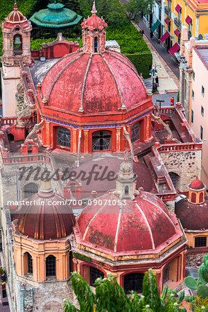 Overivew of the domes of the Templo de San Diego de Alcala church in central Guanajuato City, Mexico