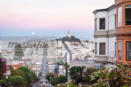 Super moon and view to Bay Area, including San Francisco-Oakland Bay Bridge, San Francisco, California, United States of America, North America