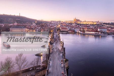 Vltava River and Charles Bridge at sunset, UNESCO World Heritage Site, Prague, Czech Republic, Europe