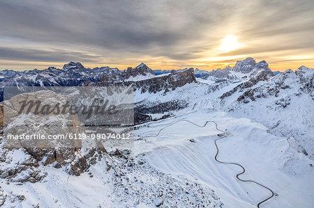 Aerial view of the snowy peaks of Giau Pass Ra Gusela and Lastoi De Formin, Cortina d'Ampezzo, Dolomites, Veneto, Italy, Europe