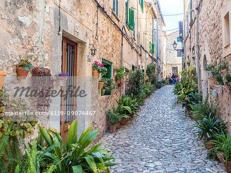 Street with flowers, Valdemossa, Mallorca, Balearic Islands, Spain, Mediterranean, Europe