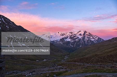 Glacier Forni at sunrise, Valfurva, Lombardy, Italy, Europe