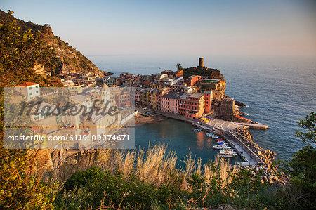 Vernazza in sunset lights, Cinque Terre National Park, UNESCO World Heritage Site, Liguria, Italy, Mediterranean, Europe