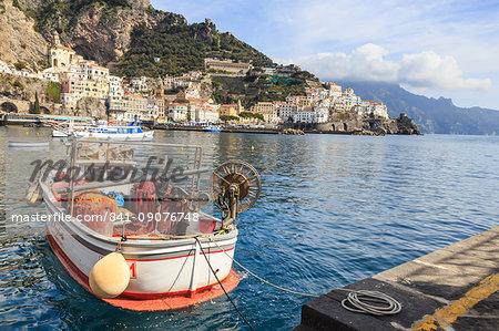 Fishing boats in Amalfi harbour, Amalfi Coast, UNESCO World Heritage Site, Campania, Italy, Europe
