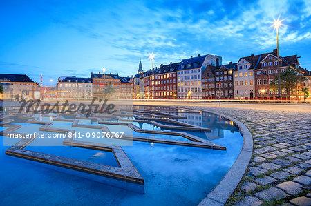 Fountain at night in Bertel Thorvaldsen's Square where Thorvaldsens Museum is located, Copenhagen, Denmark, Europe