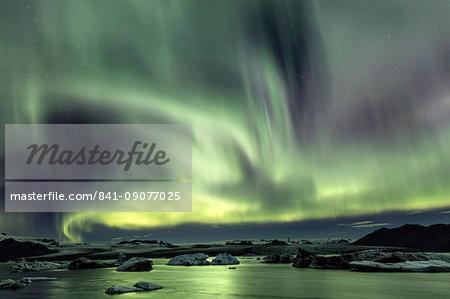 Aurora Borealis (Northern Lights) over Jokulsarlon Glacial Lagoon, South Iceland, Polar Regions