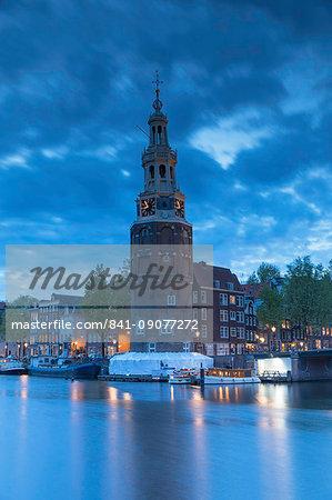 Montelbaan Tower at dusk, Amsterdam, Netherlands, Europe