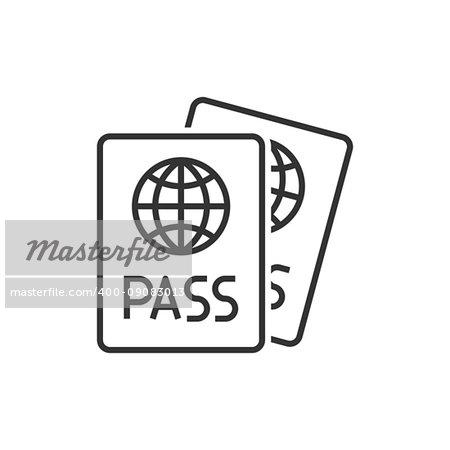 Passport line icon on white background