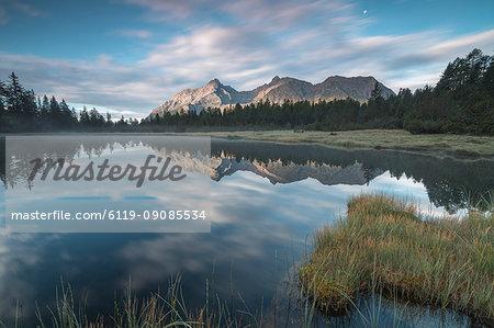 Lake Entova at dawn, Entova Alp, Malenco Valley, Sondrio province, Valtellina, Lombardy, Italy, Europe