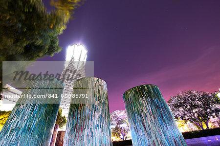 Decorative illuminated architectural design elements at Hangzhou Global Center, Hangzhou, Zhejiang, China, Asia