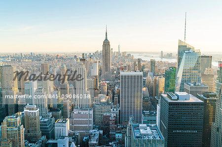 Manhattan skyline and Empire State Building, New York City, United States of America, North America