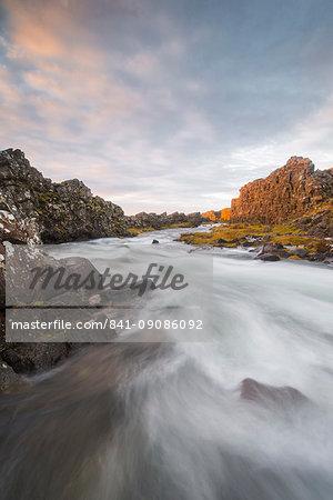 Oxararfoss River at sunrise, Thingvellir National Park, UNESCO World Heritage Site, Iceland, Polar Regions