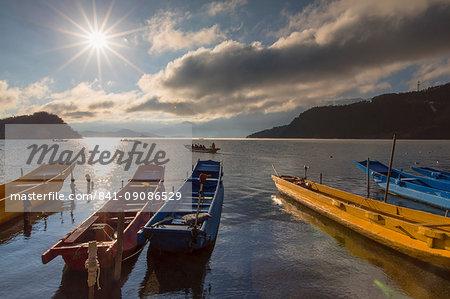 Boats on Lugu Lake, Lige village, Yunnan, China, Asia
