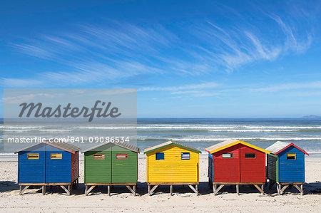 Beach huts on Muizenburg Beach, Cape Town, Western Cape, South Africa, Africa