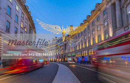 Christmas Lights, Regent Street, West End, London, England, United Kingdom, Europe