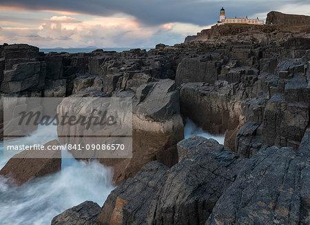The dramatic coastline and lighthouse at Neist Point, Isle of Skye, Inner Hebrides, Scotland, United Kingdom, Europe