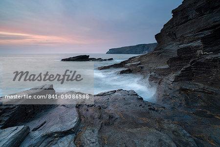 A coastal scene from Trebarwith Strand, Cornwall, England, United Kingdom, Europe