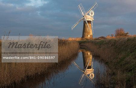 Beautiful early light on St. Benet's Mill, Norfolk, England, United Kingdom, Europe