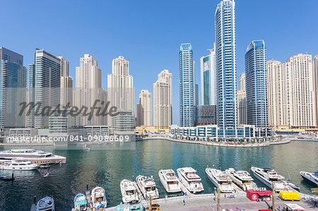 View of boats moored up in Dubai Marina, Dubai, United Arab Emirates, Middle East