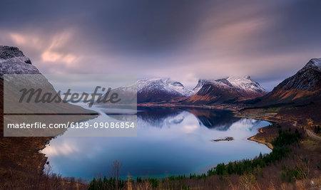 Bergsbotn early dawn lights, Senja Island Troms, County Norway Europe