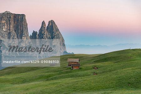 Alpe di Siusi/Seiser Alm, Dolomites, South Tyrol, Italy. Sunrise on the Alpe di Siusi