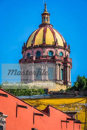 The Baroque dome of the Church of the Immaculate Conception (Iglesia de la Inmaculada Concepción known locally as Las Monjas) in San Miguel de Allende, Mexico