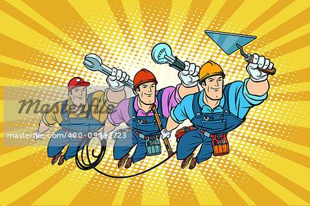 Set electrician Builder and repairer professionals. Comic book cartoon pop art retro vector illustration drawing