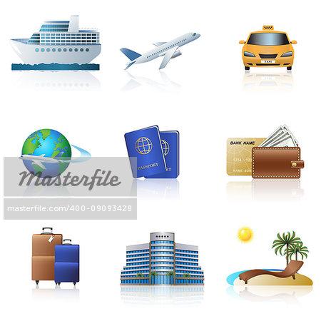 travel icons cruise, ship, plane, hotel on a white background