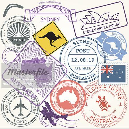 Australia travel stamps set with landmark of Sydney - journey symbols