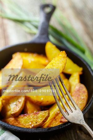 Closeup of fried potato wedges. Close up. Food background