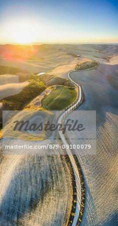 Podere Baccoleno, Asciano, Crete senesi, Tuscany, Italy. Aerial view of the iconic Podere Baccoleno