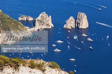 Capri Faraglioni from Solaro Mount, Anacapri, Capri Island, Naples province, Campania, Italy