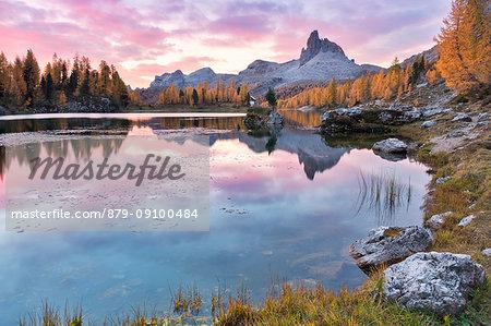 Colorful sunrise at Federa lake in autumn with yellow larches around it, Cortina d Ampezzo, Belluno, Dolomites, Veneto, Italy