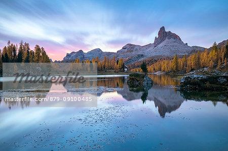 Dusk at Federa lake in autumn, Cortina d Ampezzo, Belluno, Dolomites, Veneto, Italy
