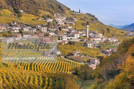 the village of Santo Stefano surrounded by the yellow vineyards in autumn, along the road of wine, Valdobbiadene, Treviso, Veneto, Italy