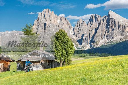 Alpe di Siusi/Seiser Alm, Dolomites, South Tyrol, Italy. Mountainbiker on the Alpe di Siusi