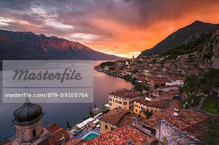 Limone del Garda at Sunset, Brescia province, Lombardy, Italy.