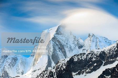 View of peak Badile covered with snow in spring Maloja canton of Graubunden Engadin Bregaglia Valley Switzerland Europe