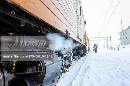 Details of the snowplow of Bernina Express train, Ospizio Bernina, Poschiavo, canton of Graubünden, Engadin, Switzerland