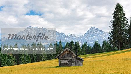 Barn along the road to Garmisch Europe, Germany, Bavaria, Krun, Teensee