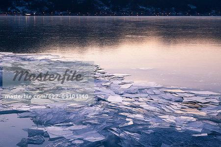 Frozen lake Suwa, Nagano Prefecture, Japan