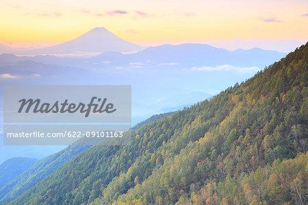 Beautiful view of Mount Fuji and autumn leaves, Yamanashi Prefecture, Japan