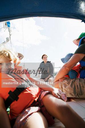 Family on boat in Bohuslan, Sweden
