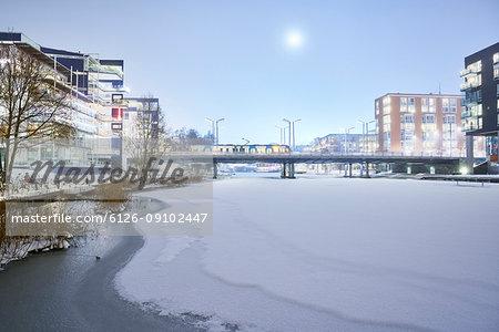 Frozen river in Stockholm, Sweden