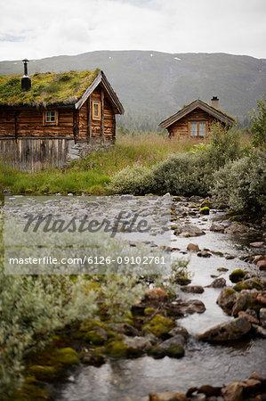 Old wooden houses at Jotunheimen