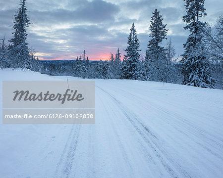 Rural road during winter in Fulufjallet National Park, Sweden