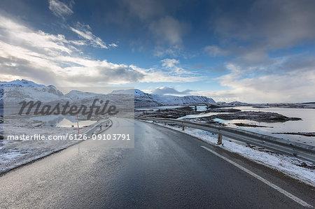 A snowy rural road in Norway