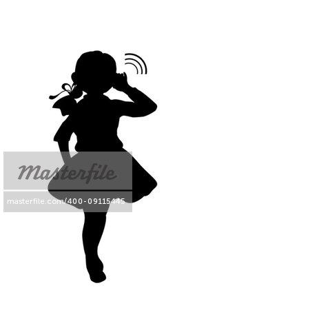 Silhouette girl holds hand near ear listening. Vector Illustration