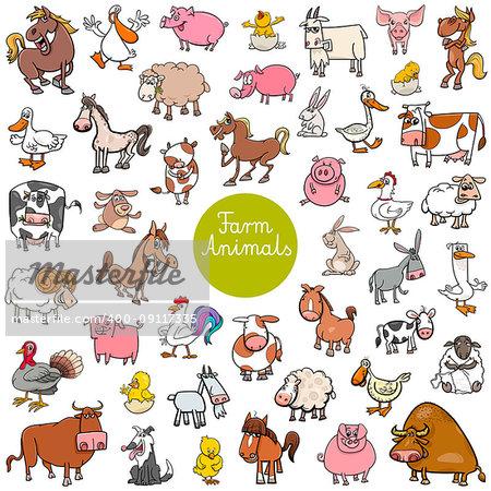 Cartoon Illustration of Funny Farm Animal Characters Huge Set