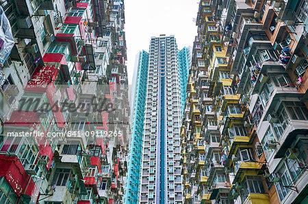 Densely crowded apartment buildings, Hong Kong Island, Hong Kong, China, Asia